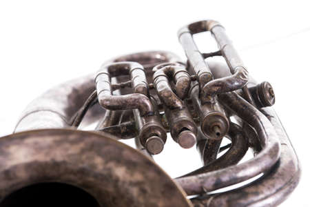chrome-plated vintage music trumpet, old musical wind instrument isolated on white background, Standard-Bild
