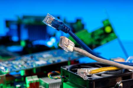 Ethernet high-speed wires for Internet network data transmission, closeup shot
