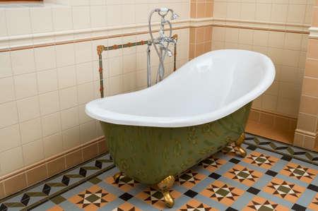 Tiled bathroom and washbasin