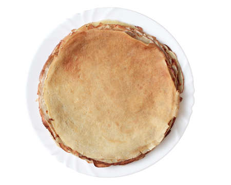 pancakes on a plate shot on an isolated white background
