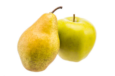 ripe pears and apples close-up isolated on white background Standard-Bild