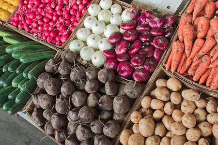 summer seasonal boxed vegetables on the market Stock fotó