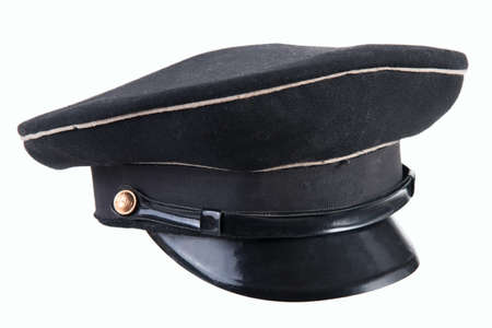 headpiece for office workers and military, old black military cap cap half turn isolated on white background