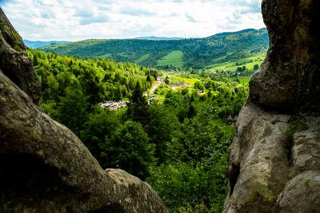 Green mountains and mountain valleys in the Ukrainian Carpathians, Lviv region