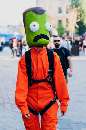 September 22, 2018 Kiev, Ukraine, Art Plant Platform. festival of modern pop culture COMIC CON. A suit with a green head and an orange overall from a computer game