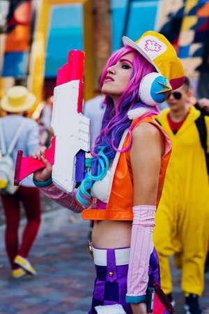 September 22, 2018 Kiev, Ukraine, Art Plant Platform. festival of modern pop culture COMIC CON, Girl in the cartoon character costume Editorial