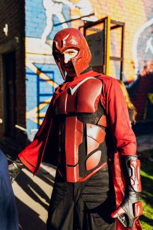 September 22, 2018 Kiev, Ukraine, Art Plant Platform. festival of modern pop culture COMIC CON, man in the costume of the superhero Magneto Editorial
