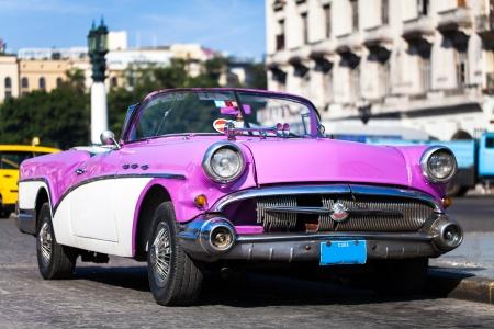 old fashioned car: Caribbean American classic car in Havana Cuba Stock Photo