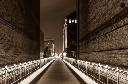 historic warehouse district in Hamburg at the night photo