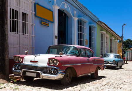 Cuba Oldtimer parked on the street Editorial