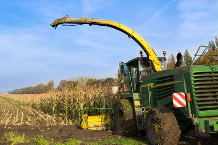 agricultural application tractor: Corn harvesting with harverst machine