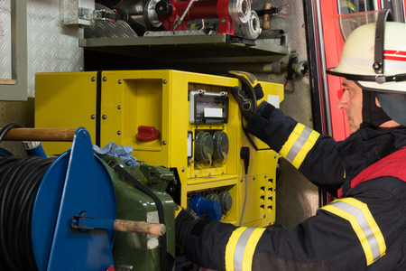 electricity generator: Firefighter in action and used a generator electricity