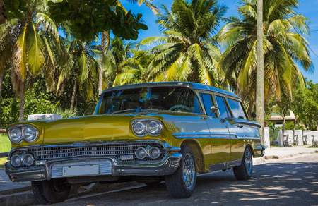 American gold brown classic car parked under palms near the beach in Varadero Cuba