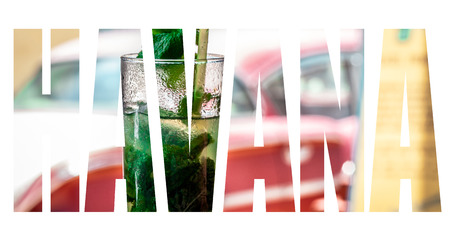 A fresh mojito cocktail with a american classic car in the background as HAVANA lettering Stock Photo
