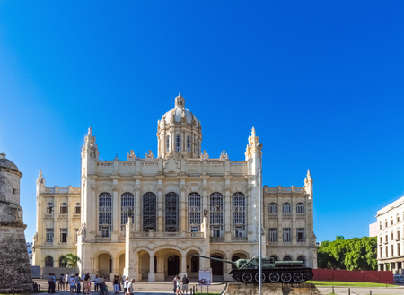 conceptional: Historic Building under blue sky in Havana Cuba