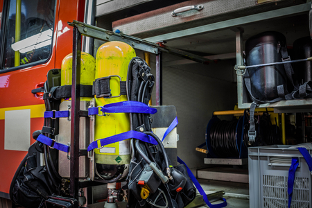 reachability: HDR - Interior from a firetruck with oxygen cylinder and other equipment Stock Photo