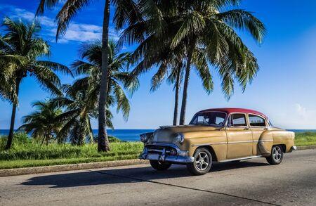 Goldener amerikanischer Chevrolet Oldtimer fährt auf dem Malecon in Havanna Kuba - Serie Kuba Reportage Editorial