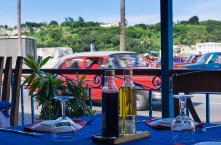 Table settings in a restaurant on the Malecon in Havana Cuba Stock fotó