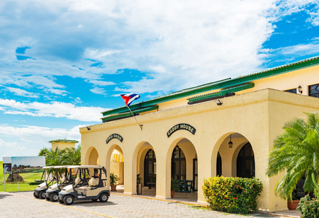 Public golf course with view of the green and the caddy house in Varadero Cuba - Series Cuba Reportage Stock Photo