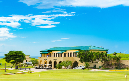 Public golf course with view of the green and the caddy house in Varadero Cuba - Series Cuba Reportage Stok Fotoğraf