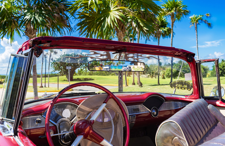 Interior of a 1956 vintage car in Varadero Cuba - Series Cuba Reportage