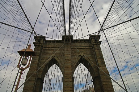 superstructure: Architectural and technical details of Brooklyn Bridge, NYC.