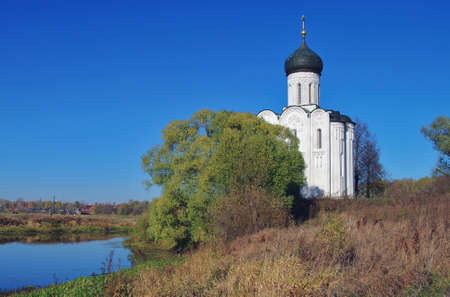 nerl: Church of the Intercession on the Nerl - famous example of old russian architecture of 12 century