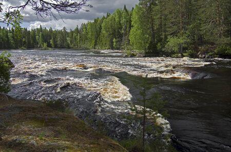 Russia, Karelia, rapids on river Shuya in June. photo