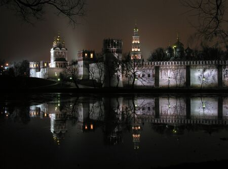 Novodevichy Convent at dark and cold November evening. Moscow, Russia          Stock Photo - 12026414