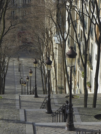 The famous staircase leading to the center of Paris from the hill of Montmartre  photo