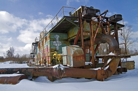 dredger: Wintering dredger in one of the sand pits near Moscow