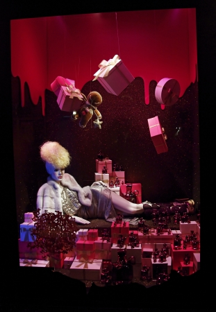 christmas perfume: Christmas shop window in a big Paris department store  Editorial