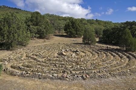 Crimean mountains  Maze built by the followers modern esoteric teachings Stock Photo - 16869271