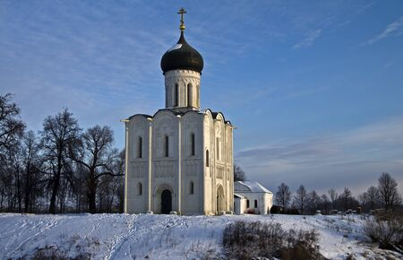 Church of the Intercession on the Nerl - famous example of old russian architecture of 12 century  Stock Photo - 17989540