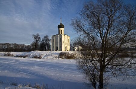 Church of the Intercession on the Nerl - famous example of old russian architecture of 12 century  Stock Photo - 17989550