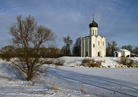 Church of the Intercession on the Nerl - famous example of old russian architecture of 12 century  Stock Photo - 17989522