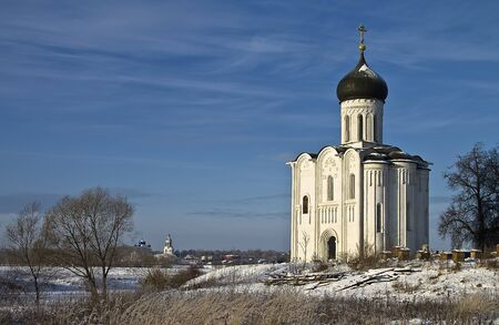 Church of the Intercession on the Nerl - famous example of old russian architecture of 12 century  Stock Photo - 17989554