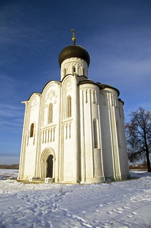 Church of the Intercession on the Nerl - famous example of old russian architecture of 12 century  Stock Photo - 17989544