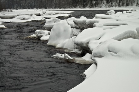 blanch: View of a fast ice-free river in winter  Karelia, Russia  Stock Photo