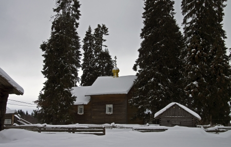 traditionary: A small wooden church in the old Karelian village Kinerma, Russia