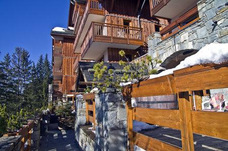traditionary: A small hotel in the ski resort  Meribel, France  Editorial