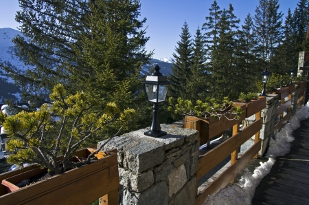 traditionary: A pine tree in bonsai style in the yard a small hotel in the ski resort  Editorial