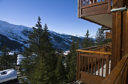 The view from the balcony of the hotel in the ski resort  Meribel, France  新聞圖片