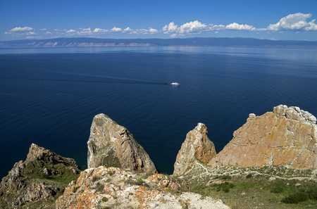 View from the northern part of Olkhon Island to the mainland  Lake Baikal, Russia   photo