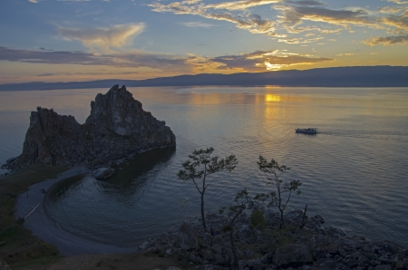 as one: Shamanism is considering Shaman Rock as one of the main centers of power in the world  Olkhon, Lake Baikal  Stock Photo
