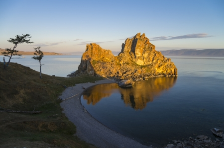 shamanism: Shamanism is considering Shaman Rock as one of the main centers of power in the world  Olkhon, Lake Baikal  Stock Photo