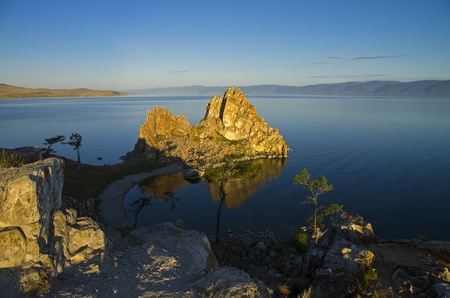 Shamanism is considering Shaman Rock as one of the main centers of power in the world  Olkhon, Lake Baikal  Stock Photo - 21857490