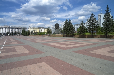 buryatia: The central square of Ulan-Ude with an unusual monument to Lenin  Buryatia, Russia  Editorial