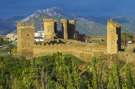 Sudak fortress in Crimea - towers and the wall photo