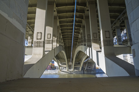 irony: Structural elements of highway bridge - view from below  Stock Photo